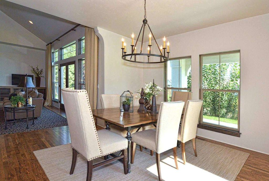 Traditional Dining Room With Hooker Furniture Bayeaux Natural Side Chair Chandelier Hardwood Floors