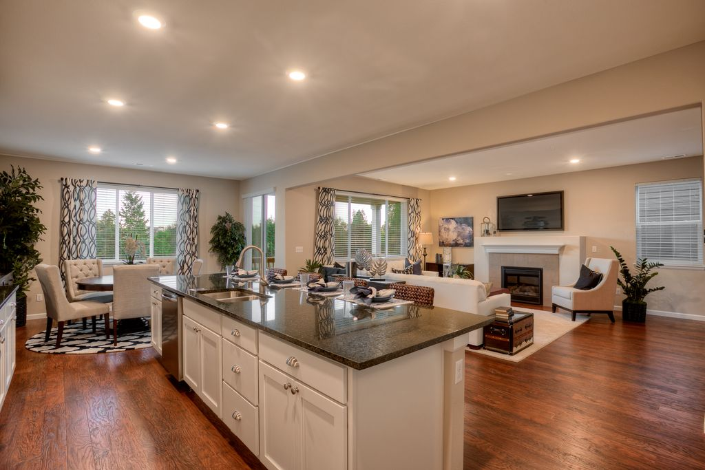 Transitional Great Room With High Ceiling, Flush, Breakfast Bar, Simple  Granite Counters,