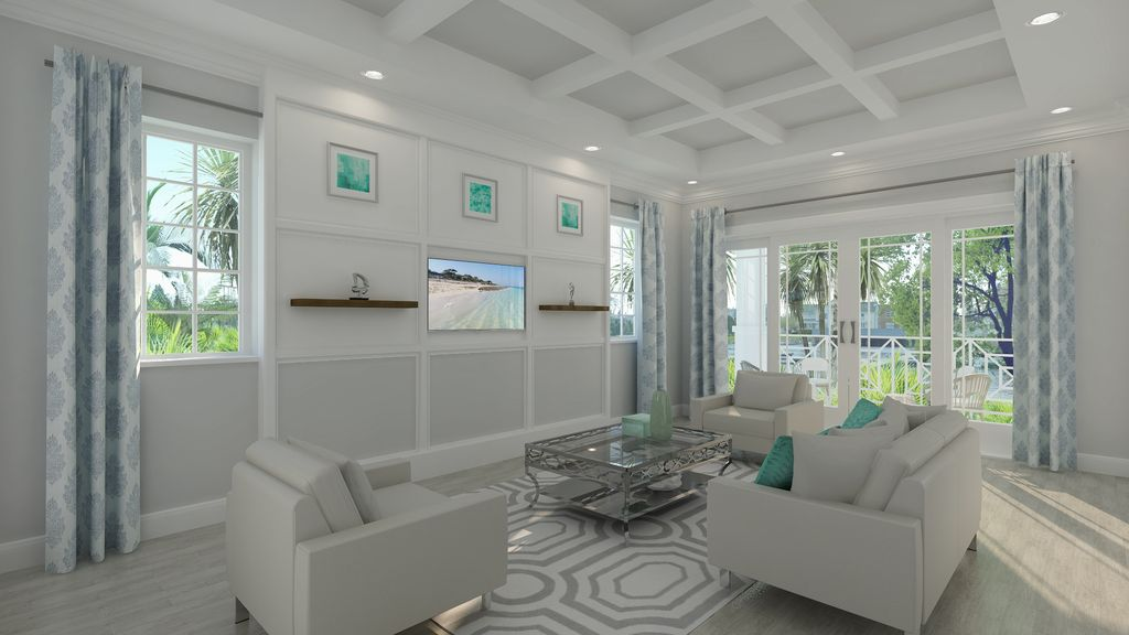 Contemporary Living Room With Carpet Box Ceiling Forest Park White Oak FP94 Porcelain