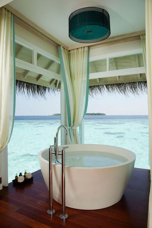 Tropical Master Bathroom With Freestanding Bathtub Aquatica PureScape 54 X Acrylic