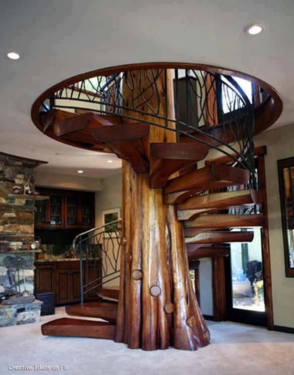 Rustic Staircase With Natural Wood, Spiral Staircase, French Doors,  Built In Bookshelf