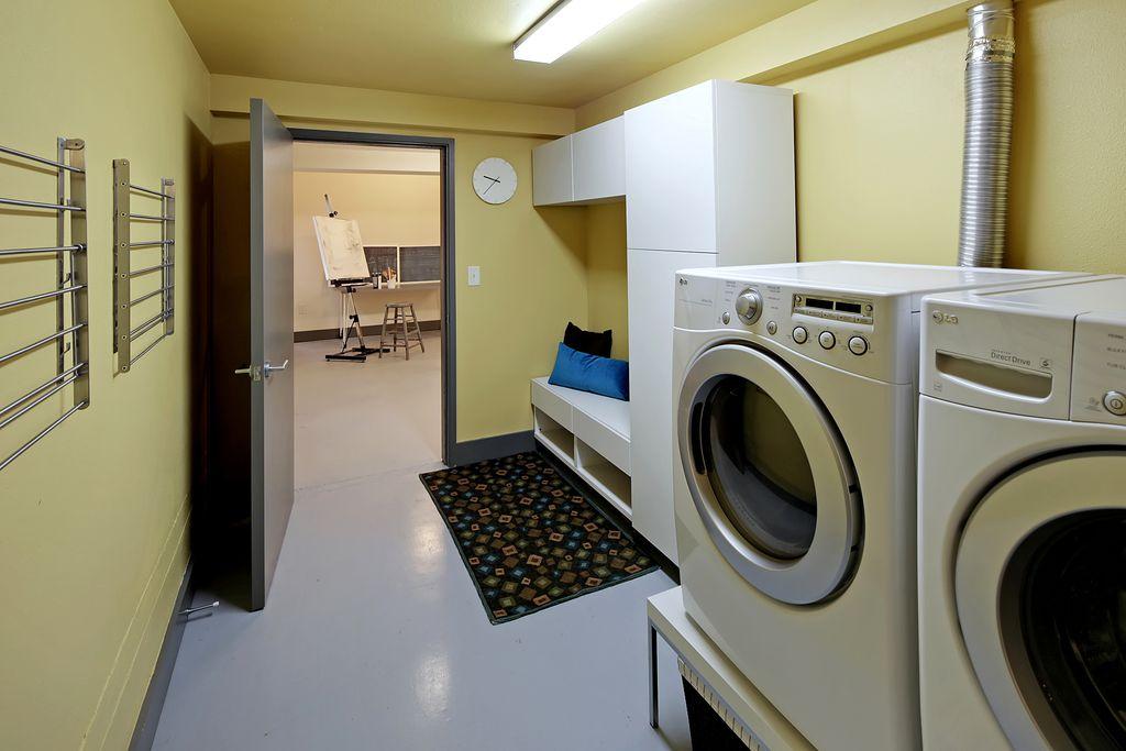 laundry room with ikea vattna wall clock undermount sink ikea stuva storage bench