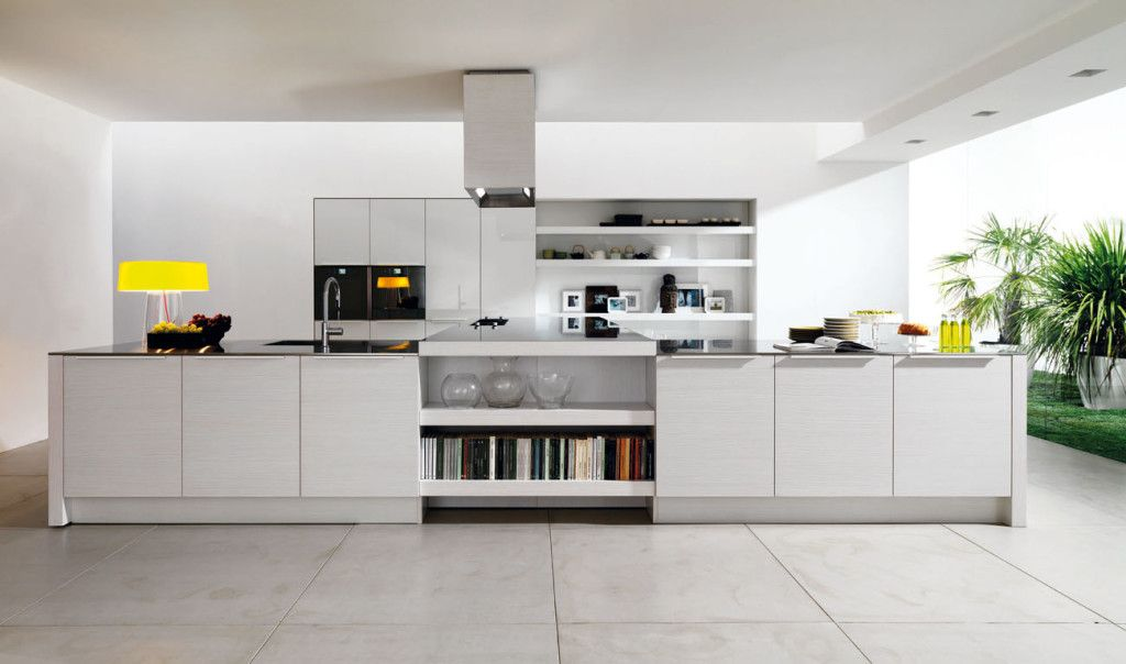 contemporary kitchen with european cabinets limestone tile floors one wall soapstone counters - Contemporary Kitchen Floors