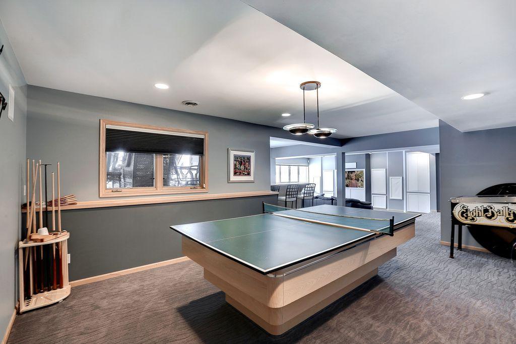 Modern Game Room With Carpet Pendant Light In Eden