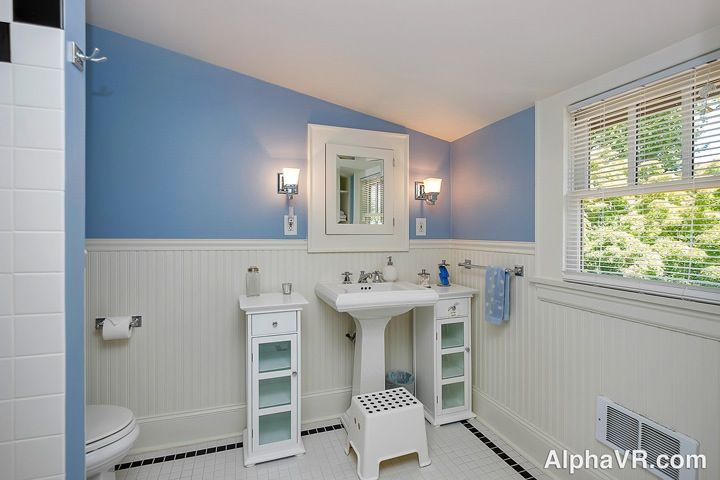 Cottage Full Bathroom With Glass Panel Amp Wood Counters In