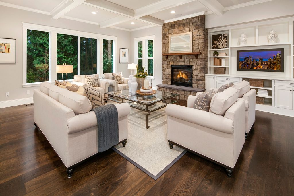 Traditional Living Room with High ceiling & Crown molding in ...