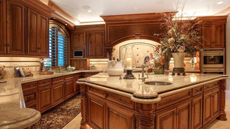 Superb Mediterranean Kitchen With Kitchen Island, Arched Window, Flush, Ivory  Fantasy Granite Countertop,