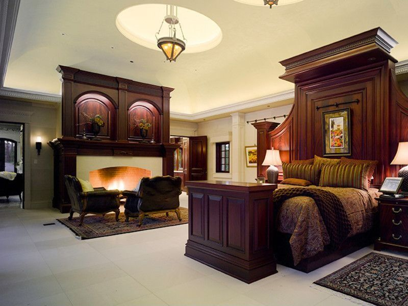 Fireplace Design fireplace cement : Traditional Master Bedroom with Cement fireplace & flush light ...