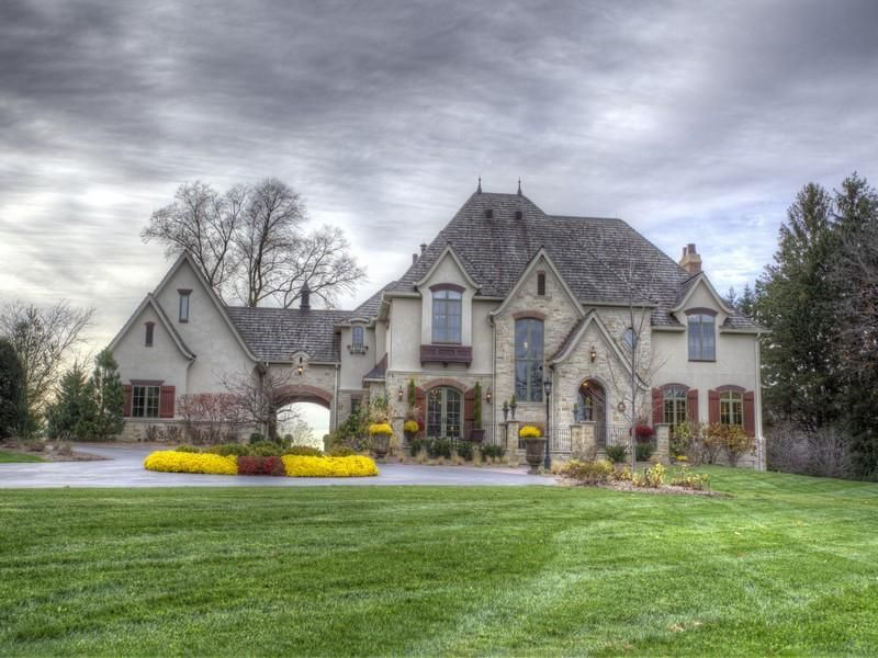 Traditional Exterior of Home with Roundabout driveway & Exterior ...
