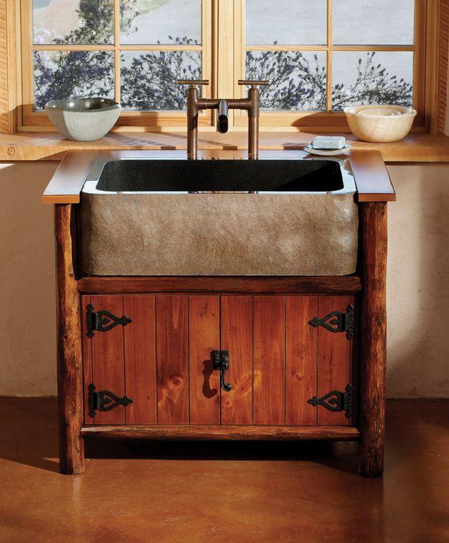 Rustic Powder Room With Custom Vanity Kf33sb Be Dyp 30 In Rectangular