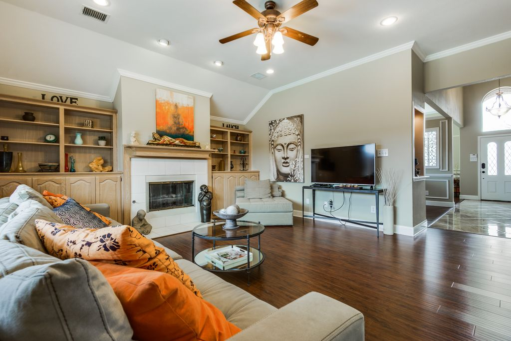 Asian Living Room With Cathedral Ceiling, Hardwood Floors, Flush Light,  Ceiling Fan, Part 86