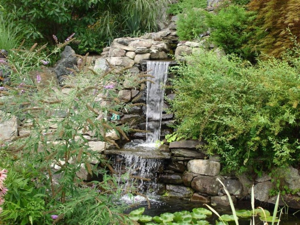 Rustic Landscape/Yard With Waterfall Feature, Large Garden Vertical Rock  Waterfalls, Stacked Stone