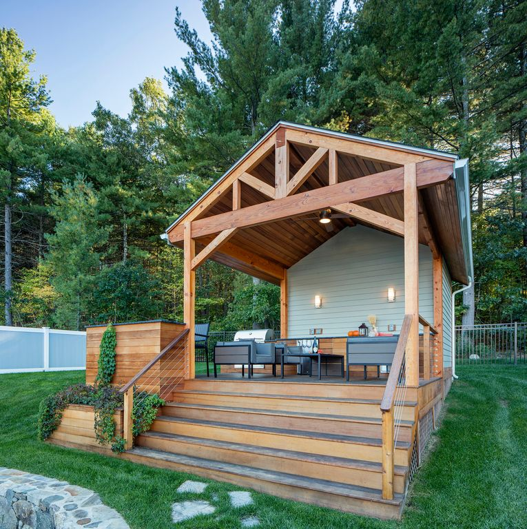 2 Tags Rustic Deck With Fence, Outdoor Kitchen, Exterior Stone Floors,  Exterior Cable Railings,