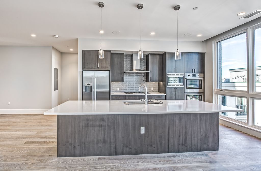 Contemporary Kitchen With Pendant Light One Wall In