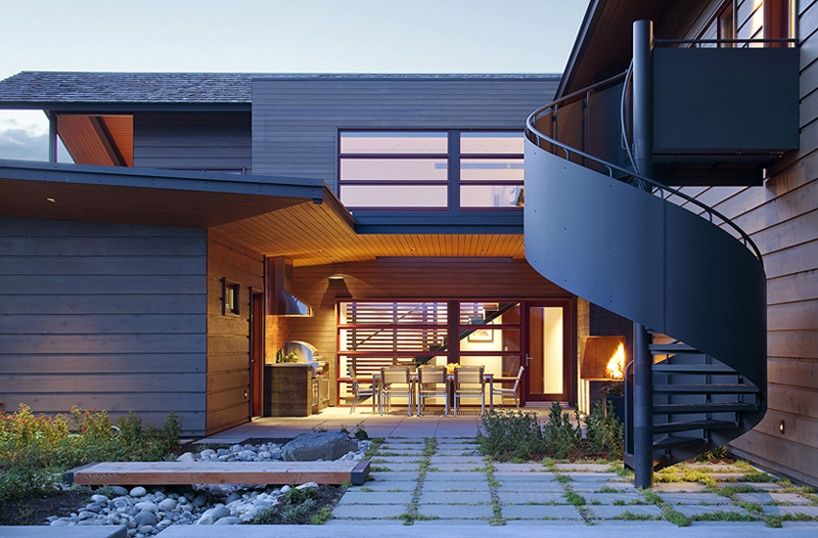 Contemporary Patio with French doors by Carney Logan Burke ...