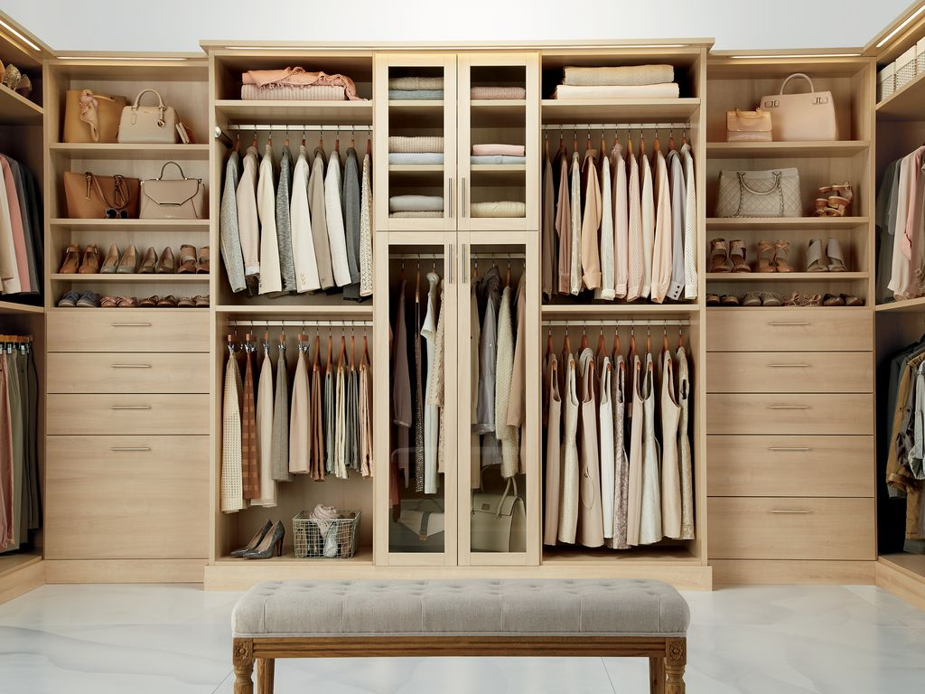 Contemporary Closet with Upholstered bench by The Container Store Zillow Digs