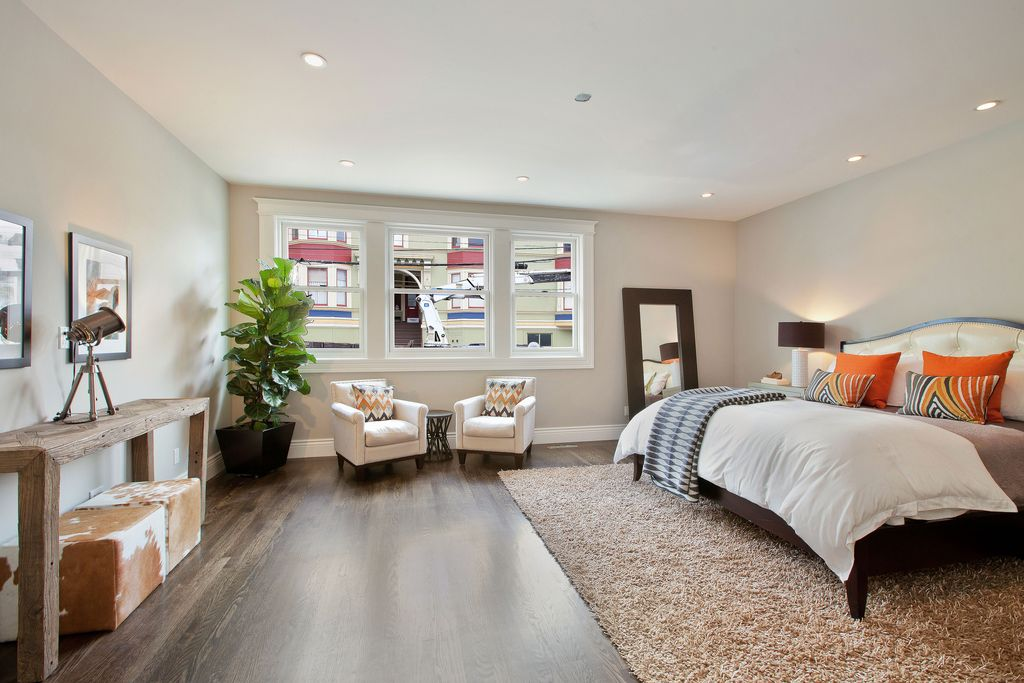 bedroom floor mirror. Contemporary Master Bedroom with Beverly Hills Furniture M9 Thick Border  Leaning Floor Mirror Darby Wool Hardwood floors by studio D