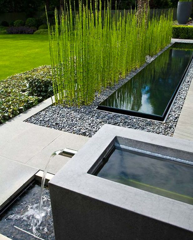 Contemporary landscape and yard with exterior stone floors for Contemporary pond design