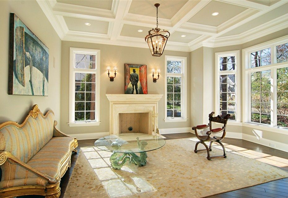 Traditional Living Room With Hardwood Floors Box Ceiling Pendant Light Crown Molding
