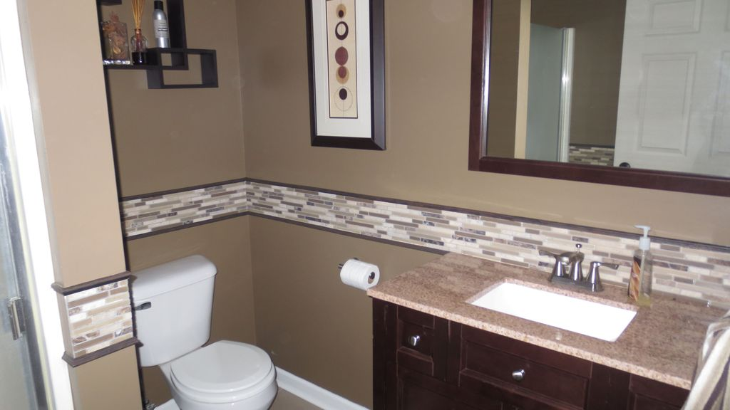 Bathroom Cabinets Grand Rapids Mi contemporary 3/4 bathroom with ceramic tile & undermount sink in