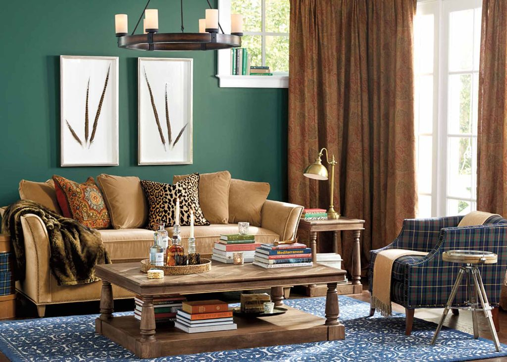 Eclectic Living Room With Leondro Coffee Table Compass Side Faux Fur Collection