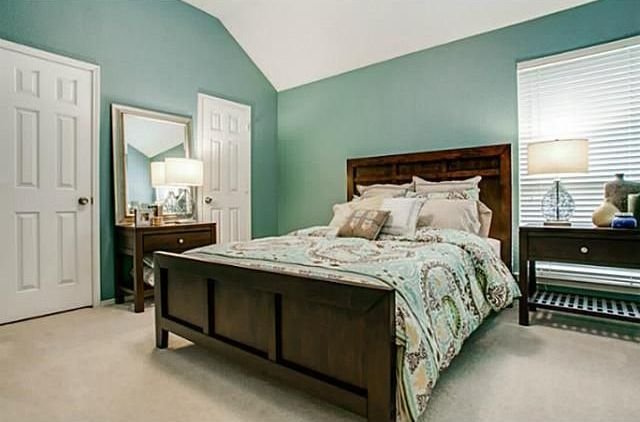 Master Bedroom With Pottery Barn Silver Beaded Mirror, Carpet, World Market  Roland Bed