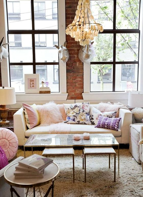 Eclectic Living Room With Carpet Chandelier Pottery Barn Tanner Nesting Tables Maaya Home