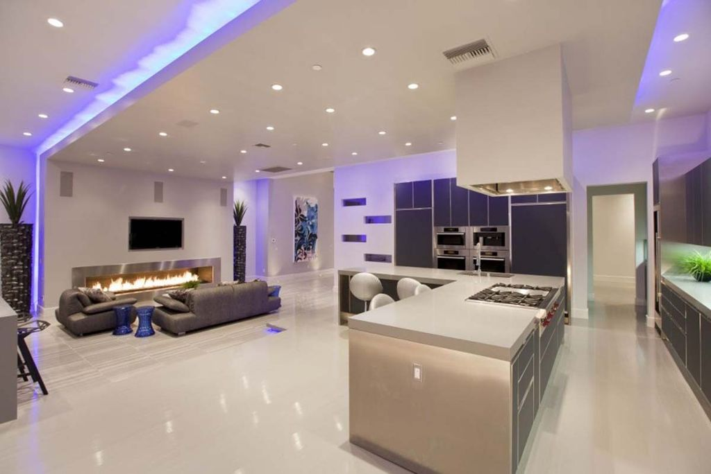 Modern Great Room With Flush Simple Marble Floors L Shaped Wine Refrigerator