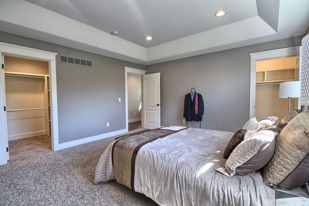 3 Tags Transitional Master Bedroom With High Ceiling, Carpet, Wholehearted  II   Color Ivory Dust Twist