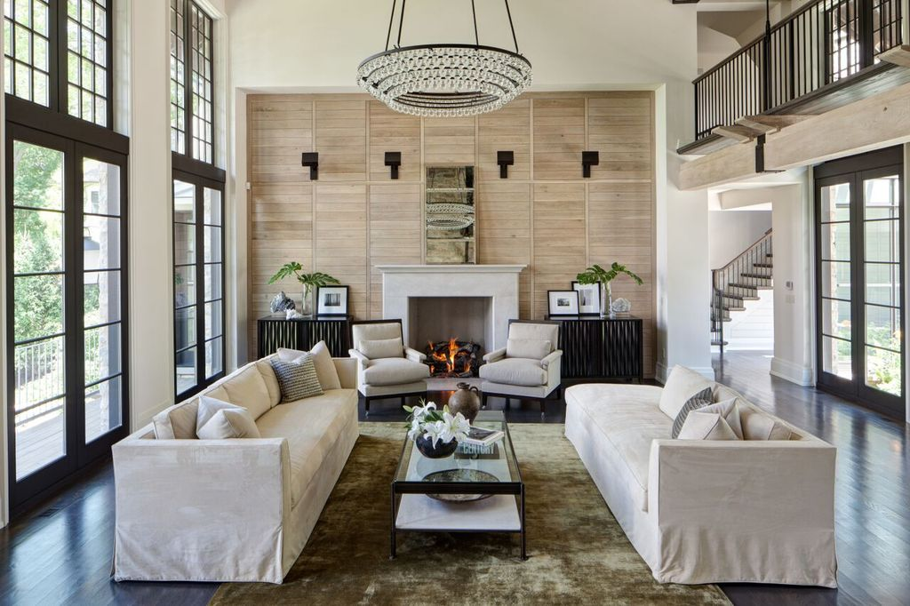 Traditional Living Room with High ceiling  Balcony  Cement fireplace   Carpet  Chandelier. Luxury Living Room Design Ideas   Pictures   Zillow Digs   Zillow