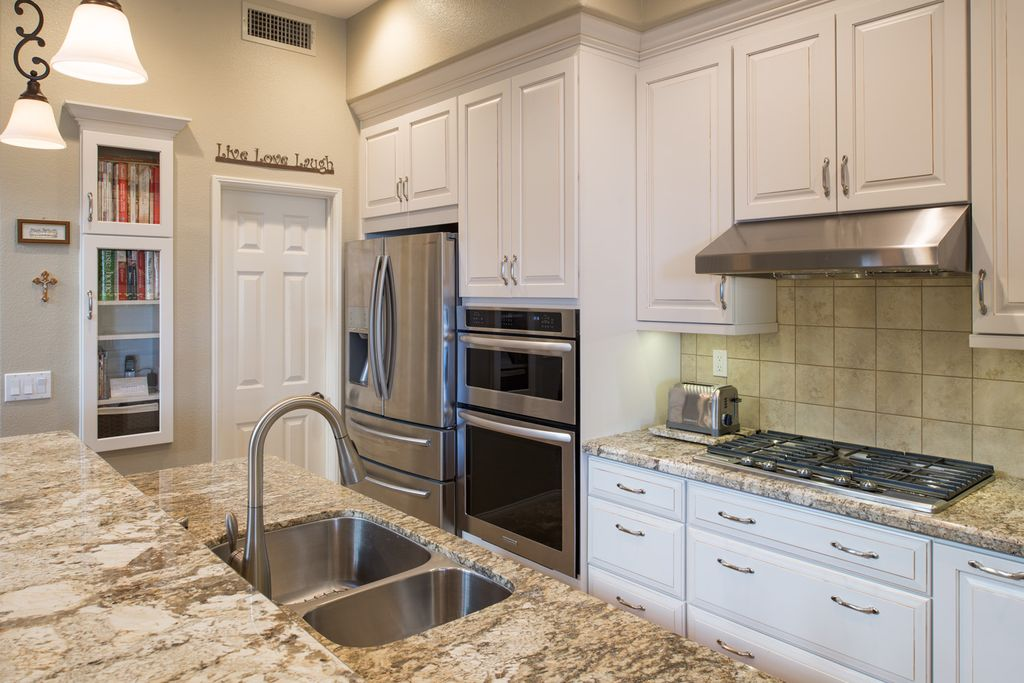 Transitional Kitchen With Betularie Granite Countertop, Arizona, Kitchen  Island, High Ceiling, Flush