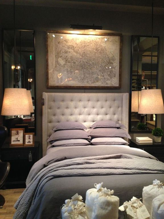 contemporary master bedroom with hardwood floors restoration hardware adler tufted fabric headboard
