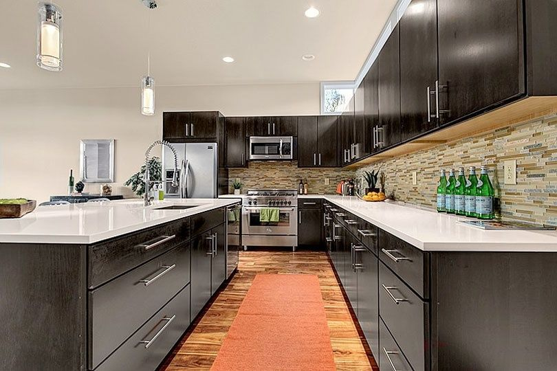 Orange Modern Kitchen modern kitchen with undermount sink & kitchen island | zillow digs