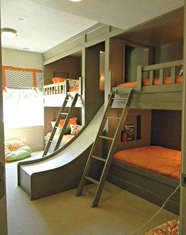 Contemporary Kids Bedroom with Double Wide Slide, flush light, Kids  bathroom, Carpet