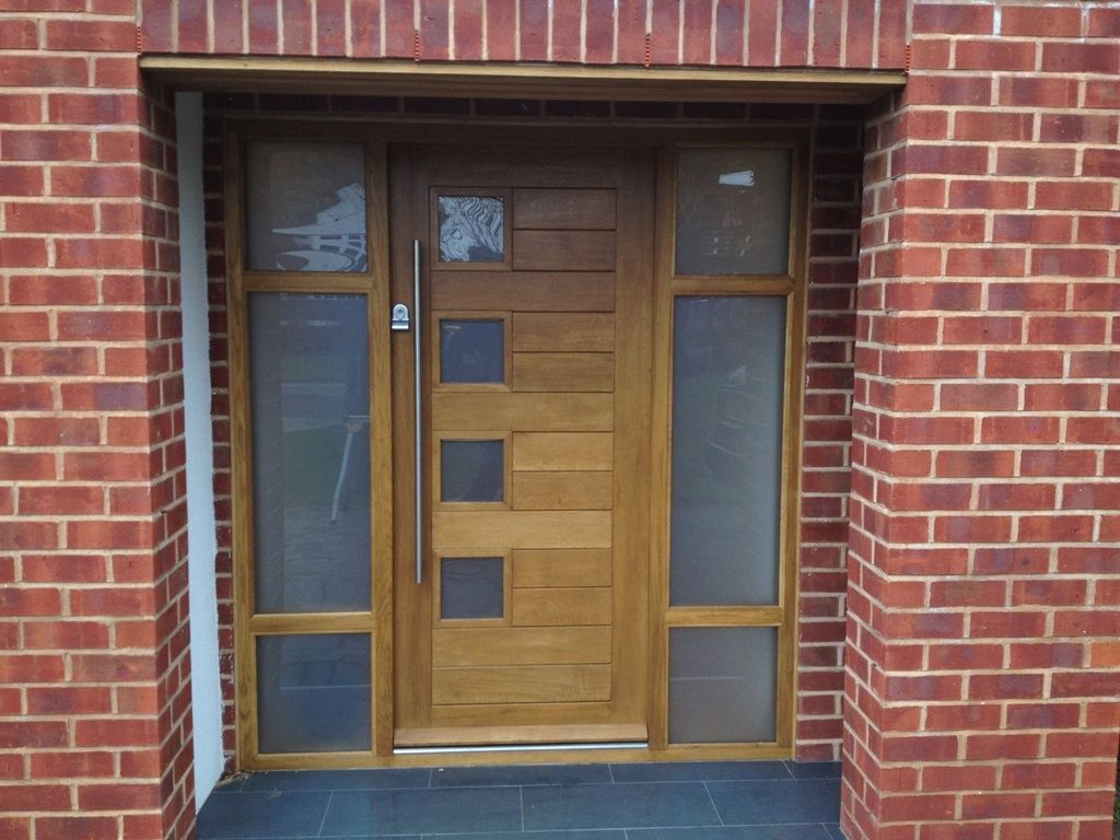 Contemporary front door with glass panel door exterior for Glass exterior doors for home