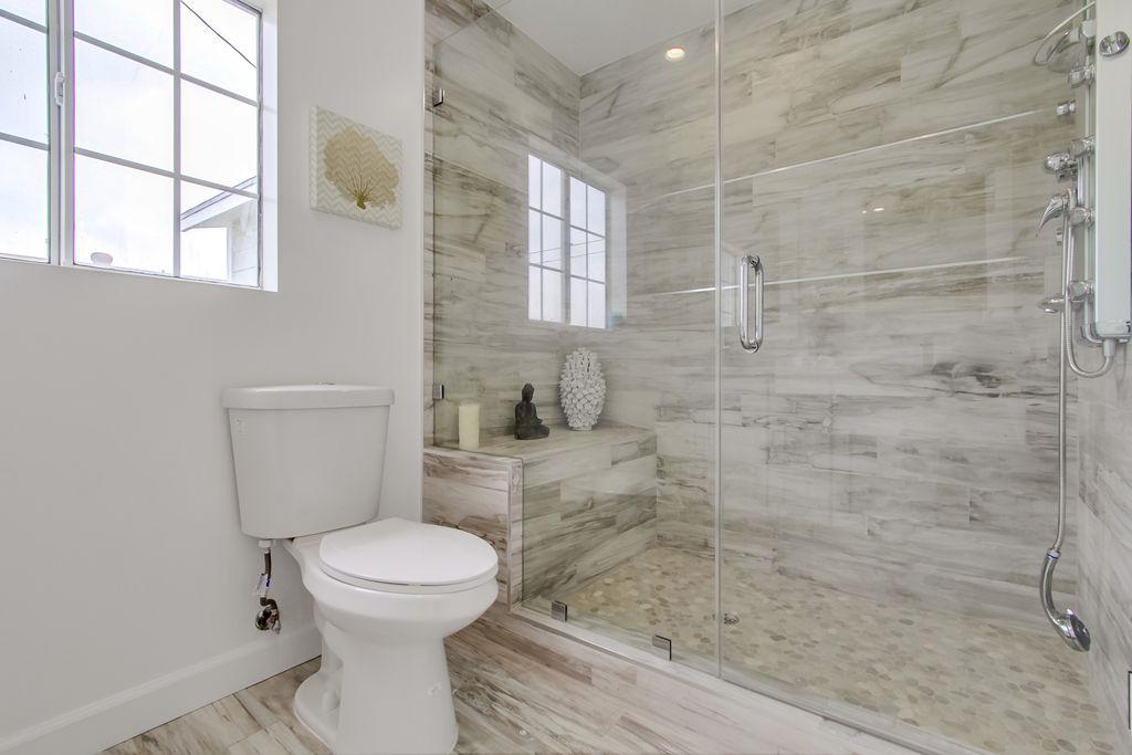 Contemporary 34 Bathroom With Hardwood Floors amp Handheld