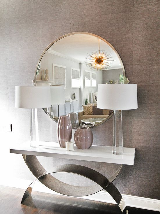 Contemporary Entryway With Howard Elliott 11137 Capella Mirrored Console  Table, Zanadoo 12 Light Small Chandelier
