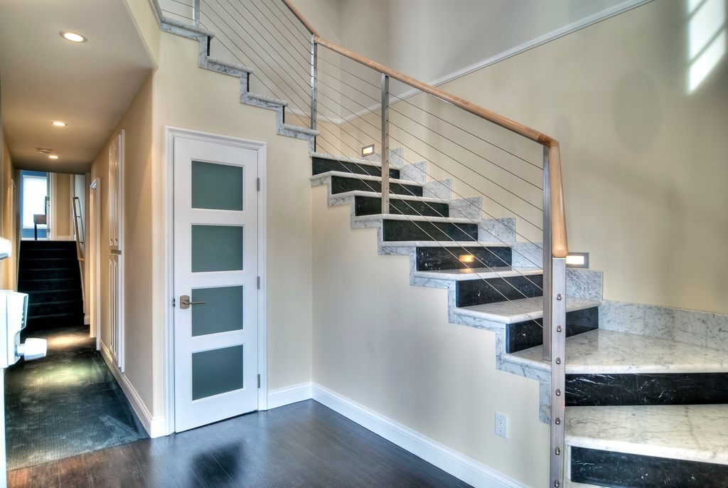 Chair Rail Kit Part - 29: Contemporary Staircase With Chair Rail, Wall Sconce, CableRail 40 Ft.  Stainless Steel Assembly