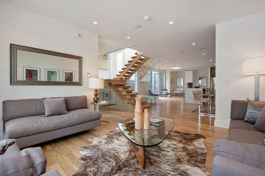 Contemporary Great Room With Skylight, High Ceiling, Hardwood Floors,  Carpet, Medium Brindle