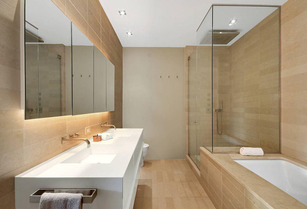 Contemporary European Bathrooms contemporary master bathroom with corian countersthe corcoran