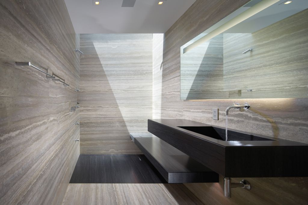 Contemporary Master Bathroom With Travertine Floors, Steam Shower Head,  Kohler Falling Water Wall Mount