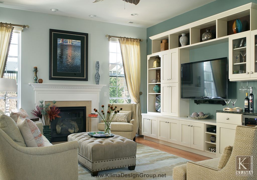 Traditional Living Room With Remington Upholstered Rectangular Nailhead Ottoman Wall Mounted Tv Custom Wood