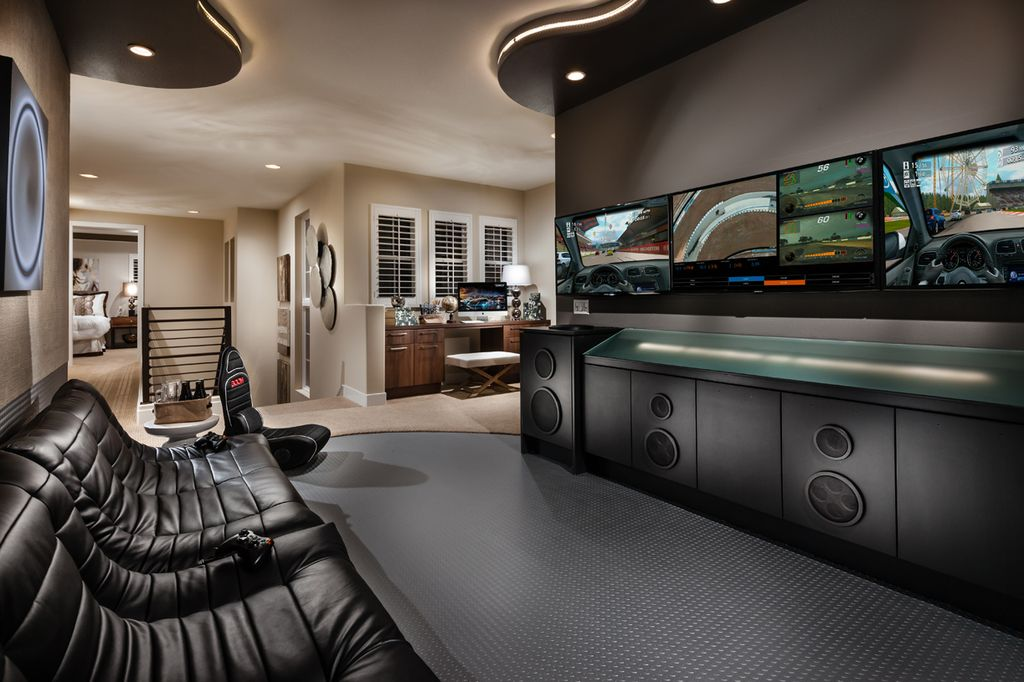 Modern Man Cave With Carpet