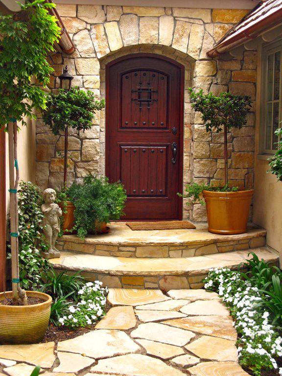 Mediterranean Front Door With Pathway Exterior Stone