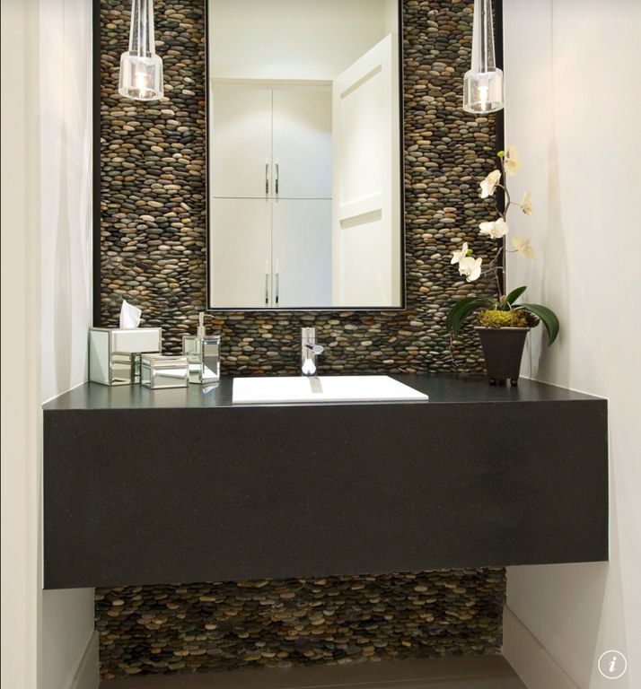 Contemporary Powder Room With Flush & Pendant Light