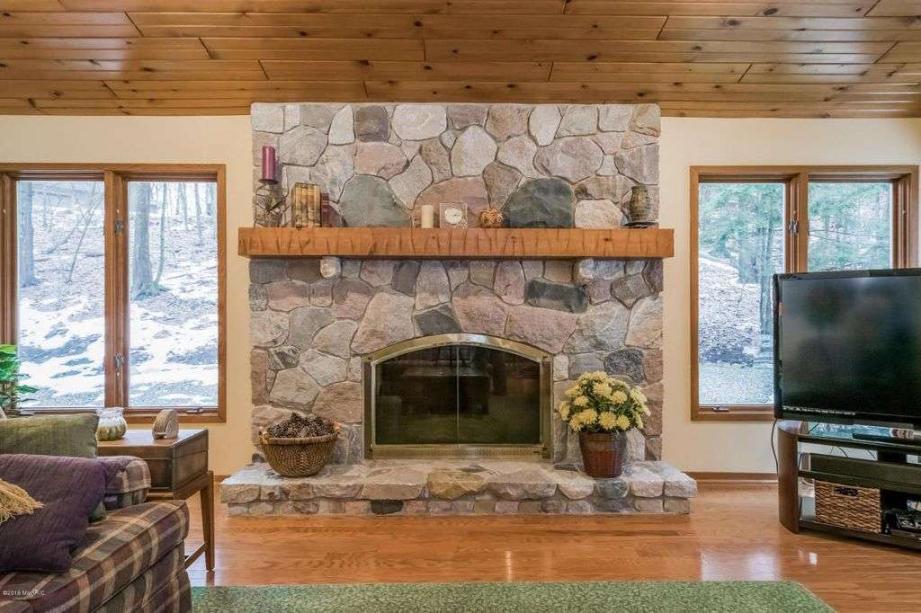 Fireplace Design metal fireplace : Rustic Living Room with metal fireplace & Carpet in Grand Rapids ...