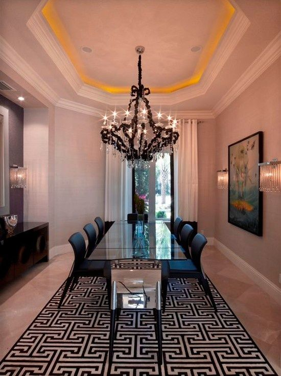 Contemporary Dining Room with Chandelier & High ceiling ...