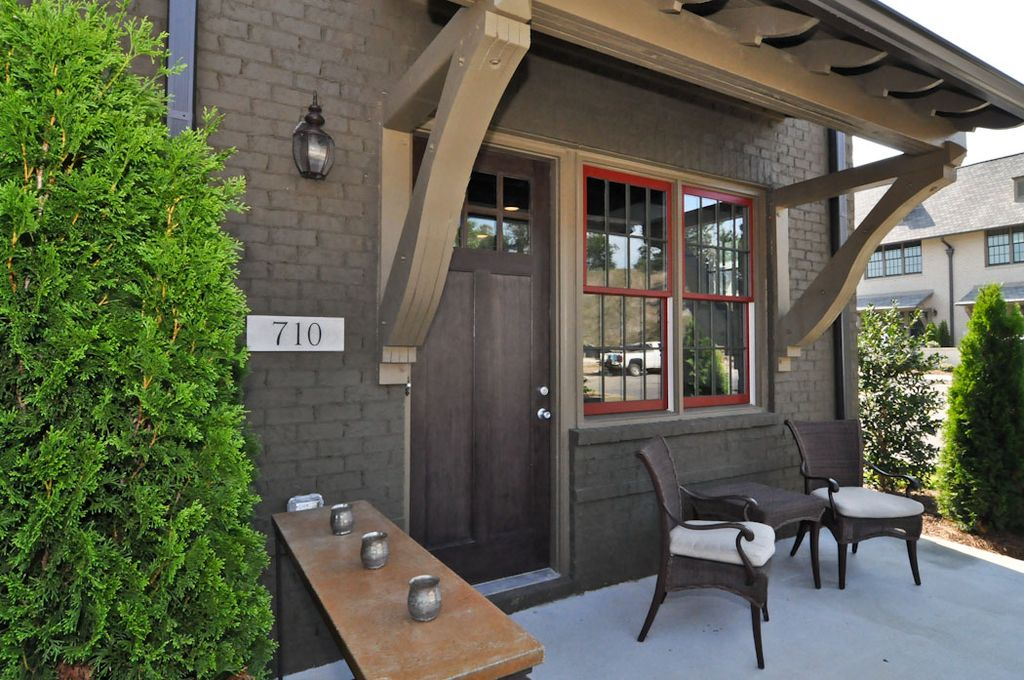 Attractive Cottage Front Door With Fence, Glass Panel Door, Exterior Awning