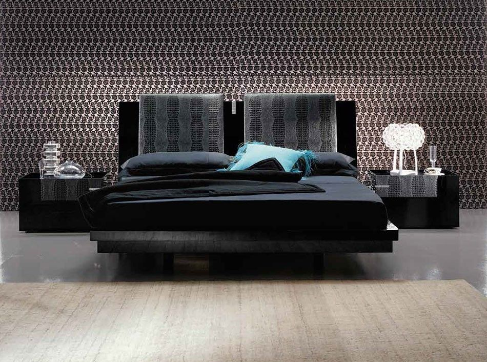 modern master bedroom with high ceiling concrete floors carpet interior wallpaper