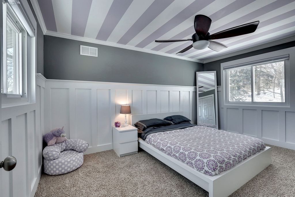 Contemporary kids bedroom with crown molding by jordan Images of wainscoting in bedrooms